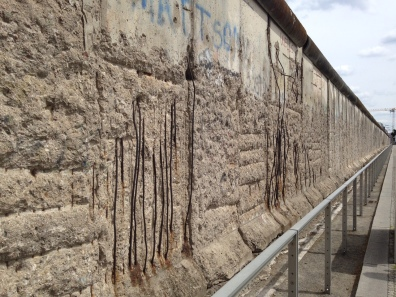 Close up of the Berlin Wall with grafitti
